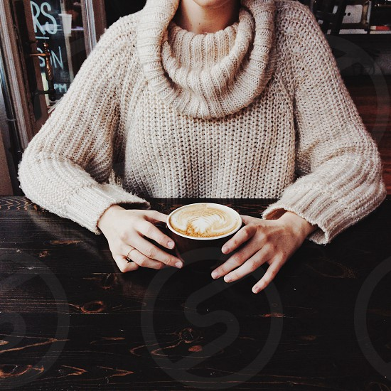 gray knitted sweater  photo