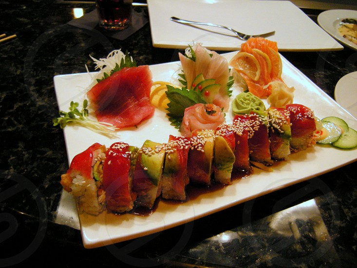 Rainbow roll and sashimi photo