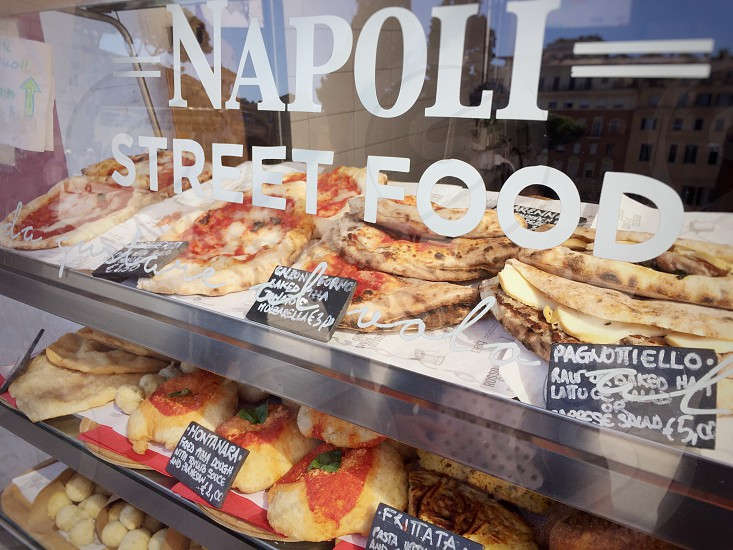 Street food naples italian pizza stand tag fried  photo