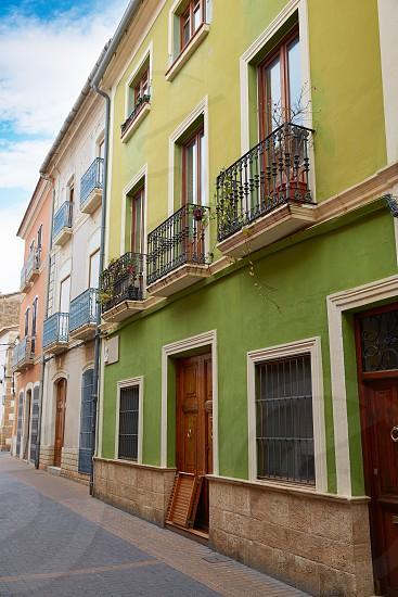 Denia street Loreto facades in Alicante at Mediterranean spain photo
