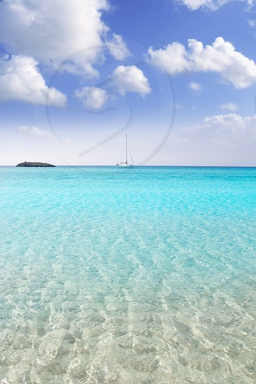 Formentera beach illetas a white sand with turquoise water perfect Balearic paradise photo