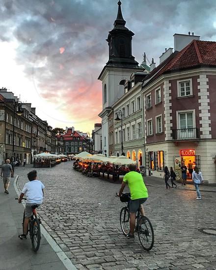 Warsaw sunset street views  photo