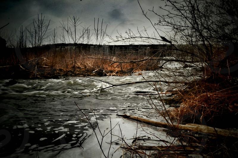 river in Vermont. rivernaturewaterfalloutsidehikinglandscape photo