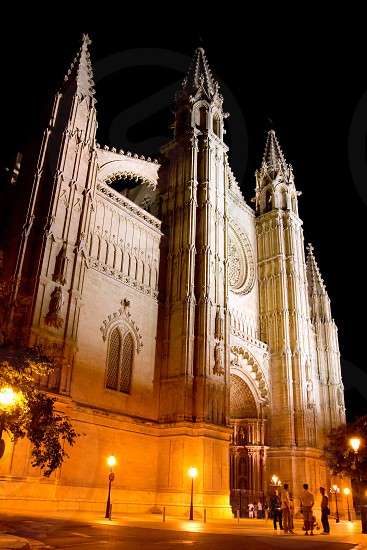 Cathedral of Palma de Mallorca La Seu night view perspective Majorca Balearics photo