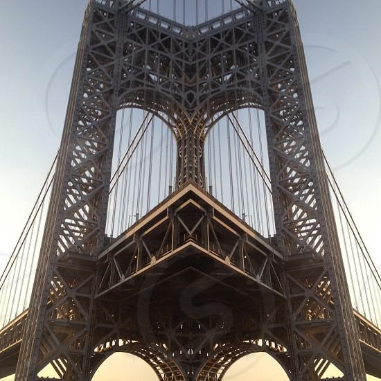 grey steel framed bridge photo