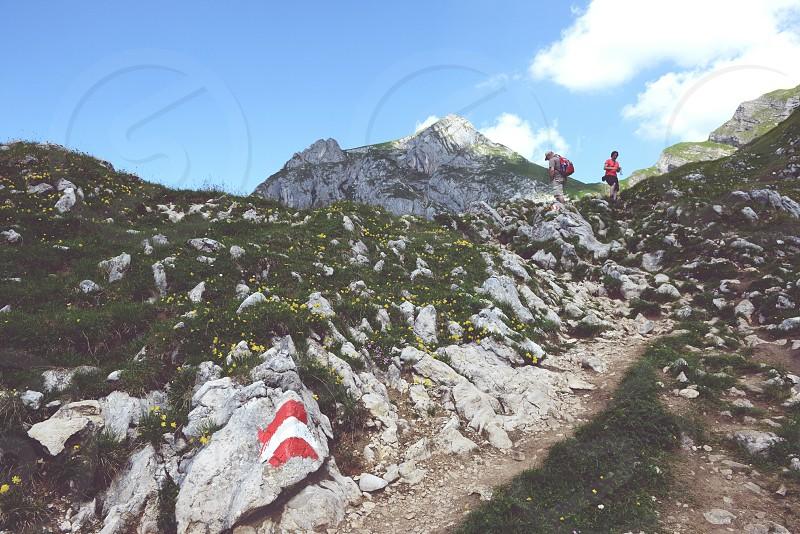MAURACH TYROL/ AUSTRIA JULY 22 2013: hiking in Rofan mountain aeria in Tyrol (Austria). retro retouch of image. photo