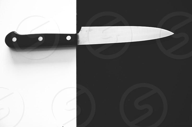 knife black and white photo