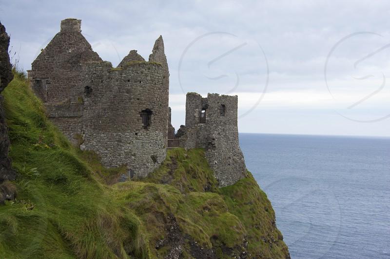 Antrim Coast Road Northern Ireland Irish Sea Autumn Ruins Castle Medieval Cliffs photo