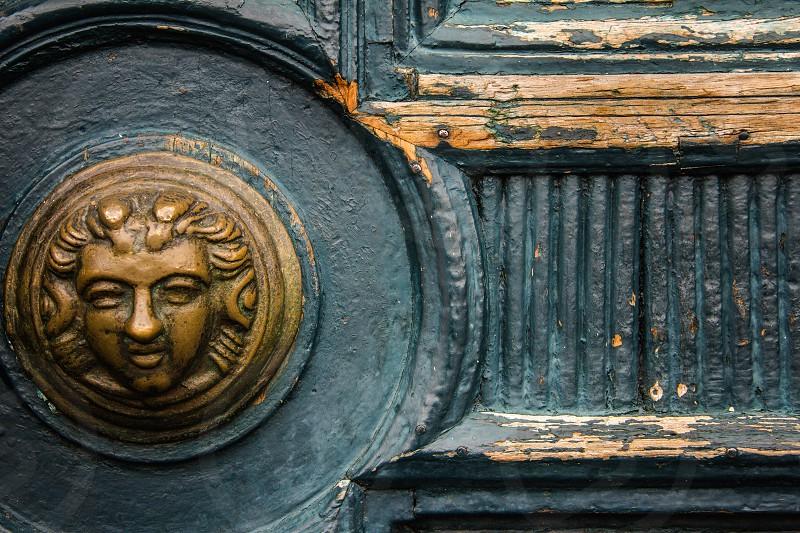 Detail of a door of the Iglesia de la Merced of Merced Church in Quito Ecuador's historical center. photo