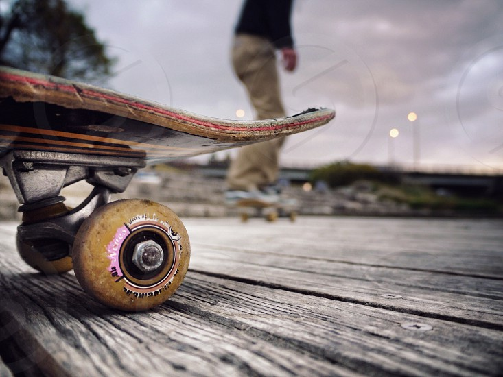 brown skate board photo