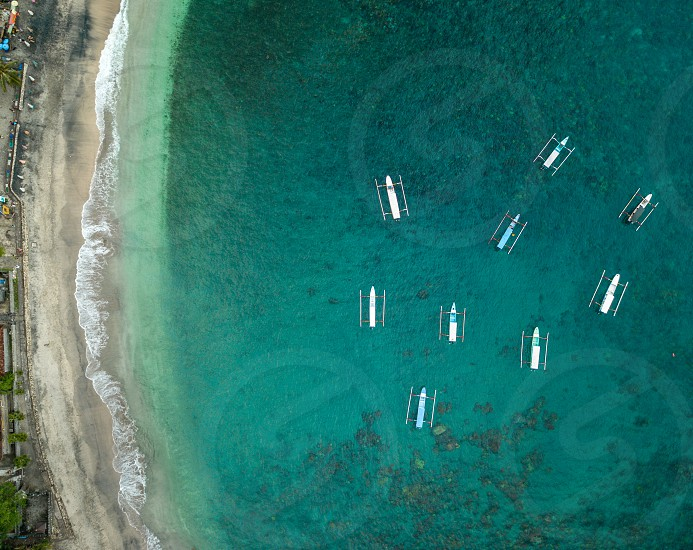 Aerial view from Crystal Bay in Nusa Penida island. Bali. One of the best beaches to relax and chill in Nusa. photo