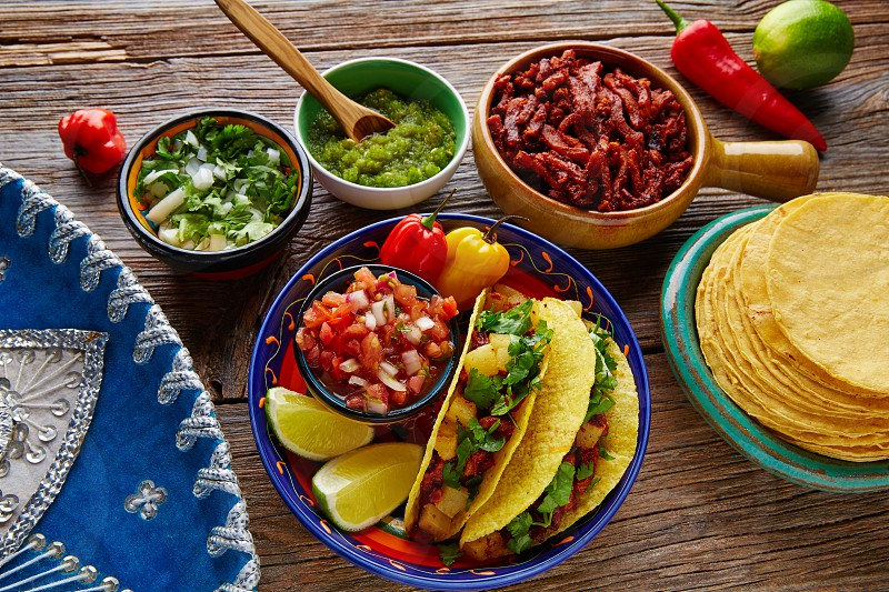 Tacos al pastor Mexican with coriander pineapple and chili photo