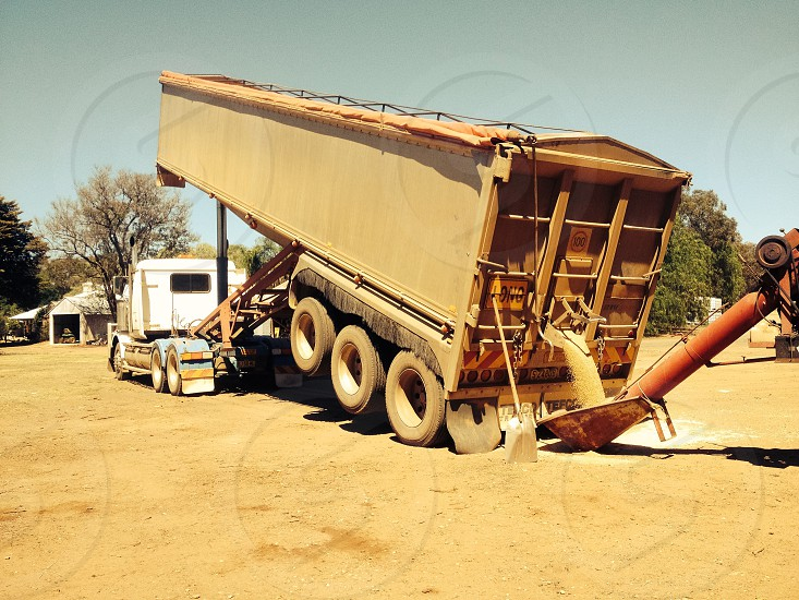 Delivering wheat to the silo Harvest Dubbo NSW photo