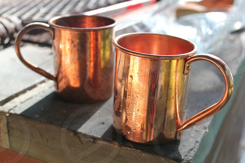 Copper Mugs Cups Object Drink Drinks photo