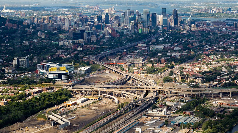 Aerial view of the Turcot interchange construction project. Quebec's larget road work project. Montreal Canada. photo