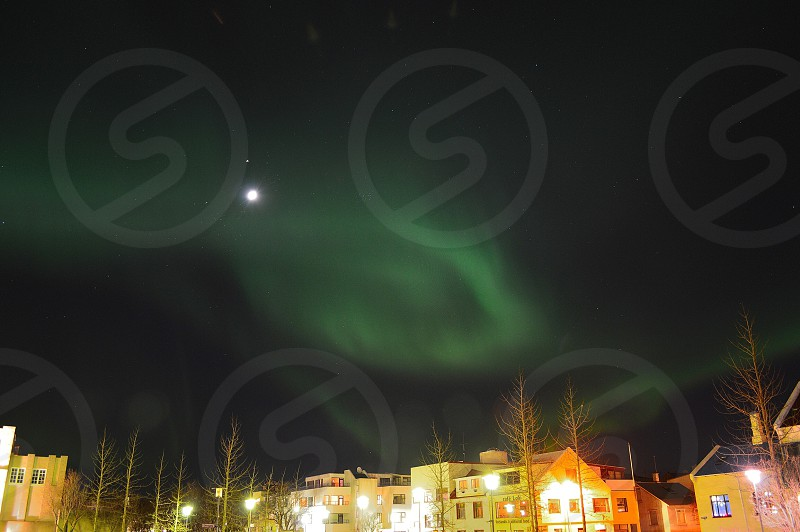houses and streetlamps turned on photo