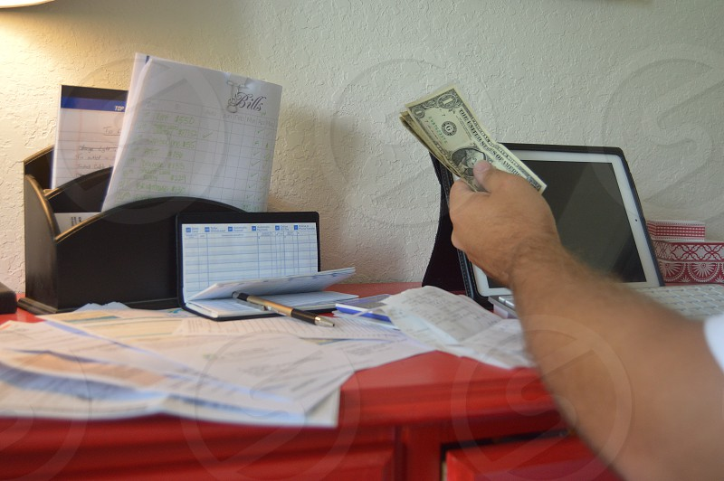 Someone working on Finances photo
