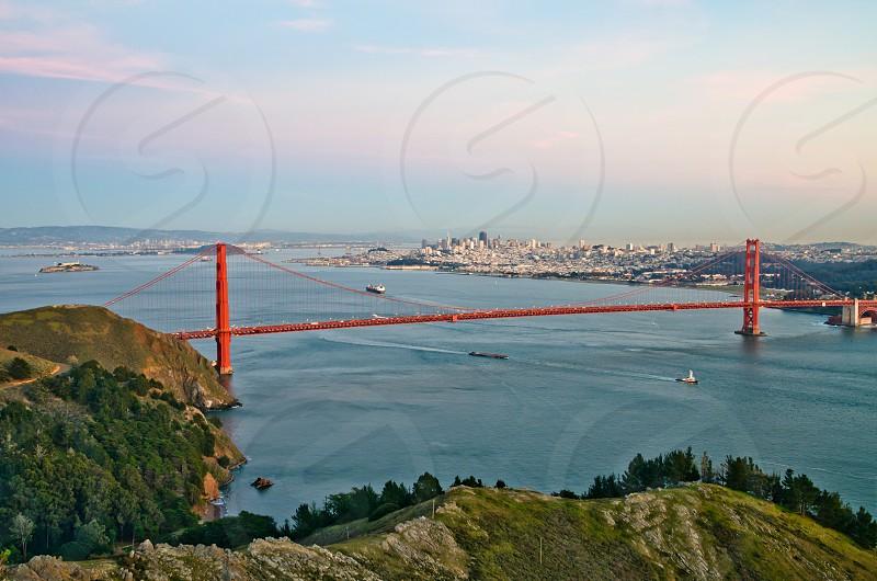 Famous landmark Golden Gate Bridge in San Francisco California at night photo