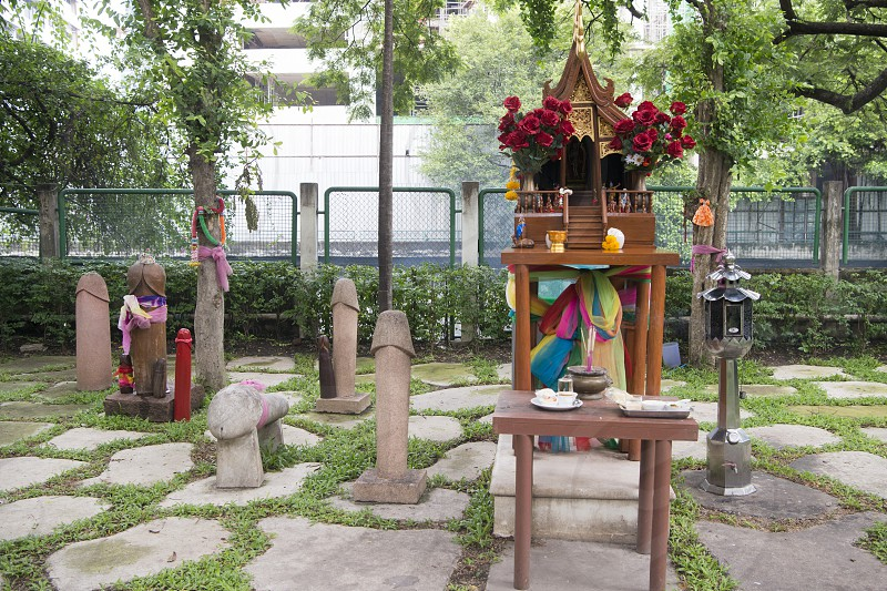The Bangkok Phallic Shrine with lotz of wooden Penis at Pratunam in the city of Bangkok on 7. 12. 2016 in Thailand photo