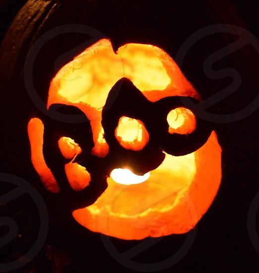 pumpkin carving boo lamp photo
