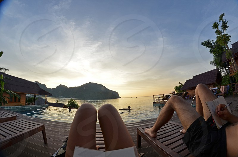 A thai island from my fish eye in a creative and relaxing sunset photo