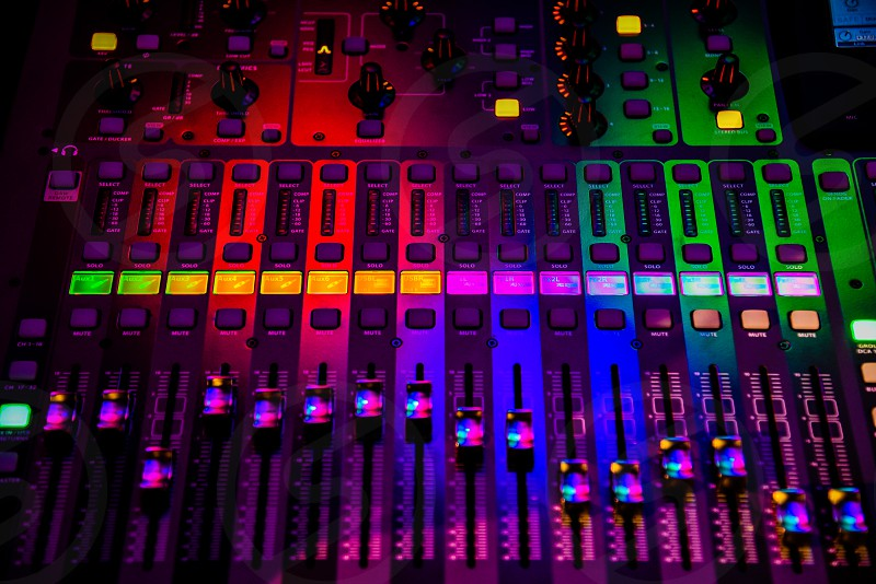 green purple and red lighted audio mixer photo
