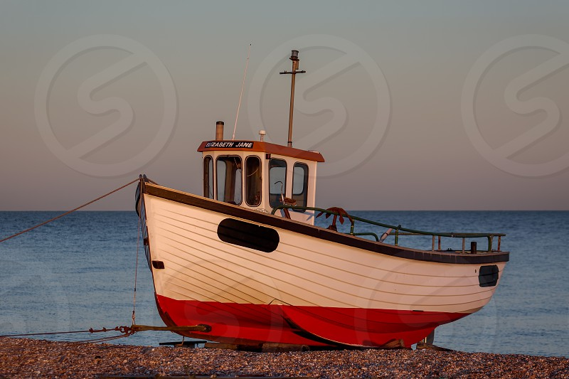 DUNGENESS KENT/UK _ DECEMBER 17 :  Fishing Boat on Dungeness Beach in Kent on December 17 2008 photo