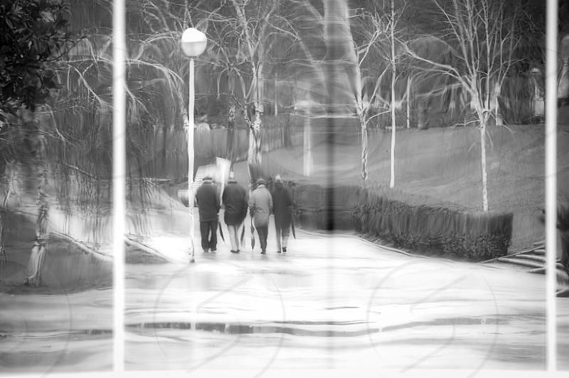 Men walking in the park seen through glass photo