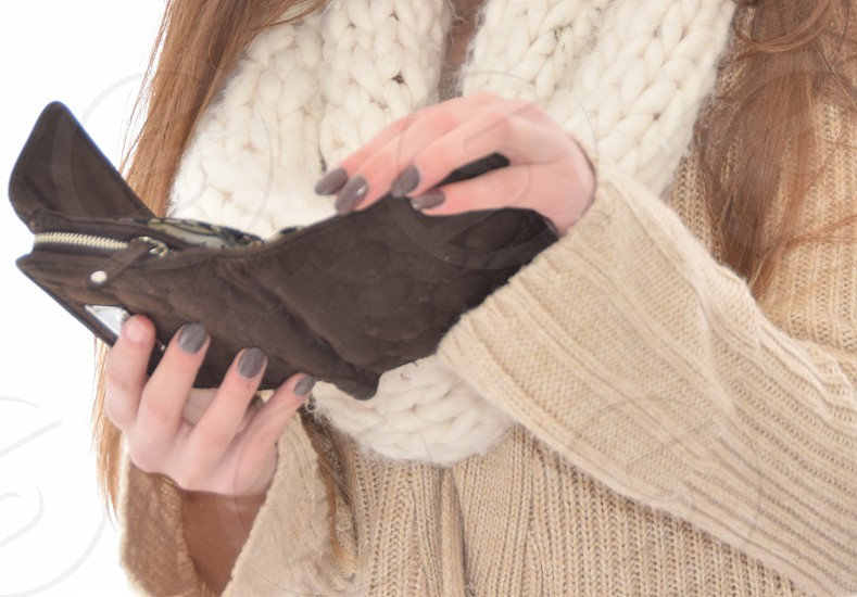Woman's hands and wallet credit and cash finances photo
