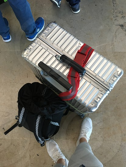 Suitcase travel bag backpack waiting airport  photo