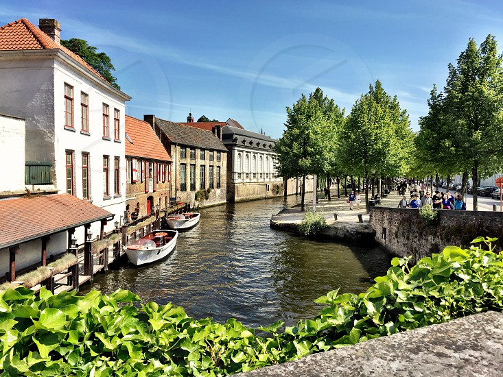 Brugge; canal; water; boat; village; Amsterdam; European  photo