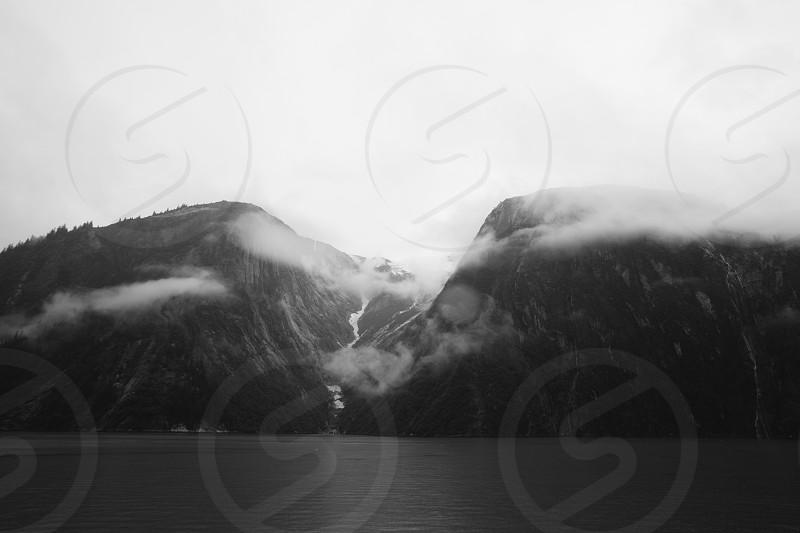 gray scale two mountain photo