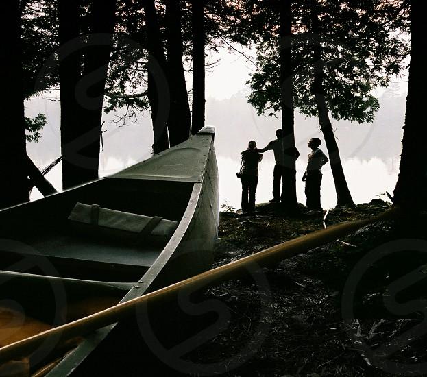 canoe lake vacation shore view camping photo
