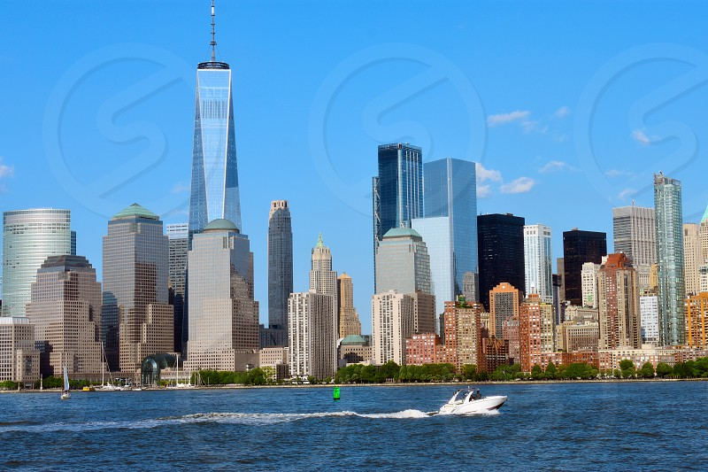 View of the NYC World Financial Center and Battery Park from Liberty State Park in Jersey City NJ photo