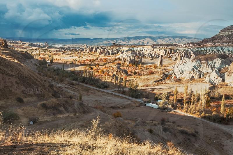 Natural canyon landscape scene in Cappadocia Turkey photo
