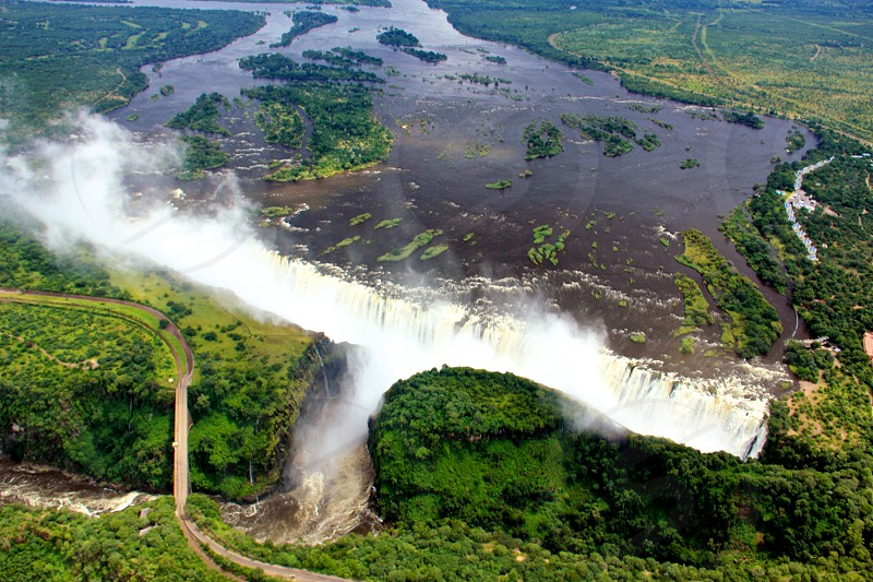 View of Victoria Falls from helicopter.  photo
