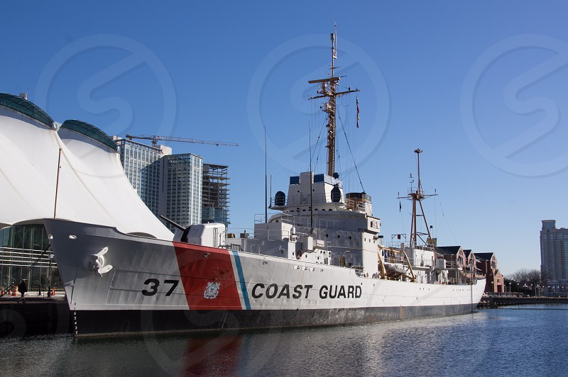 Historic ships in the Baltimore Inner Harbor.  Coast Guard. photo