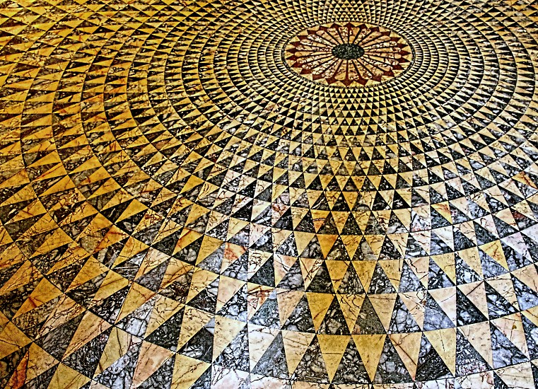 View of a patterned tiled floor photo