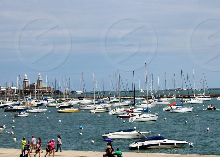 Sailboats on Lake Michigan Chicago photo
