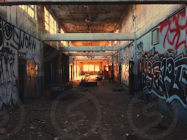 alley concrete with graffiti photo