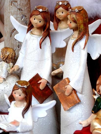 wood angels statues photo
