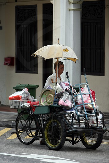 a bicycle kichen in the city of Singapore in Southeastasia. photo