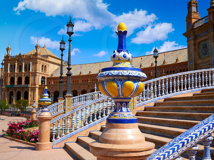 Seville Sevilla Plaza de Espana balustrade Andalusia Spain square photo