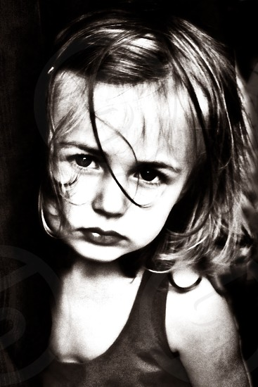 Baby thinking attitude in black and white style. photo