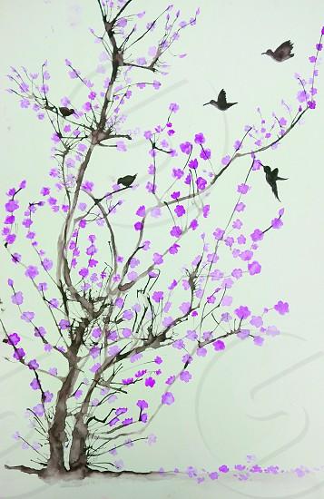 purple tree painting photo