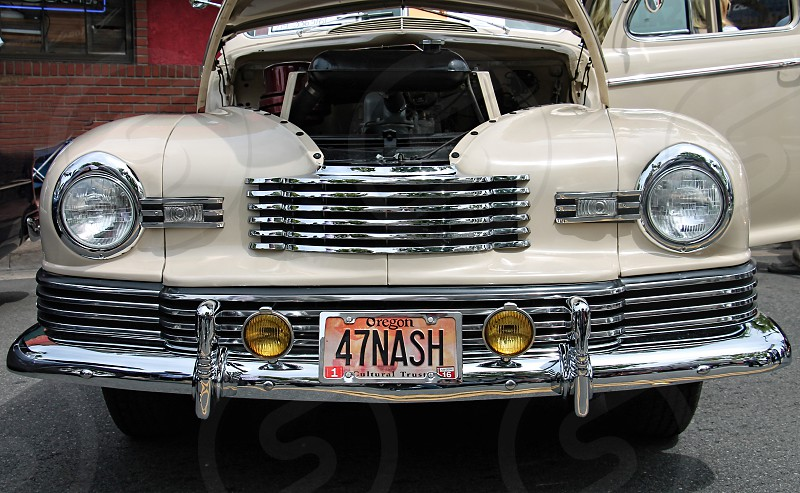 Detail of license plate on a classic car photo