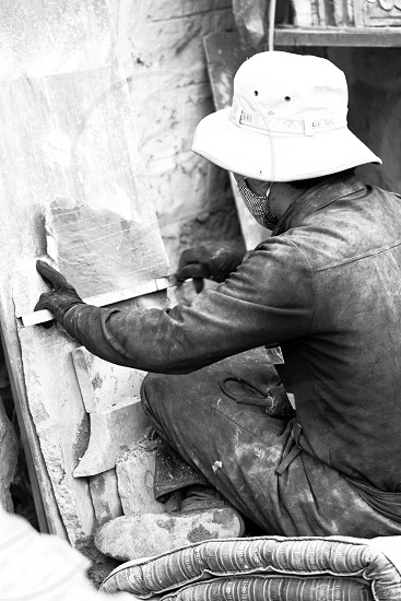 Stone Etching Tibet China photo
