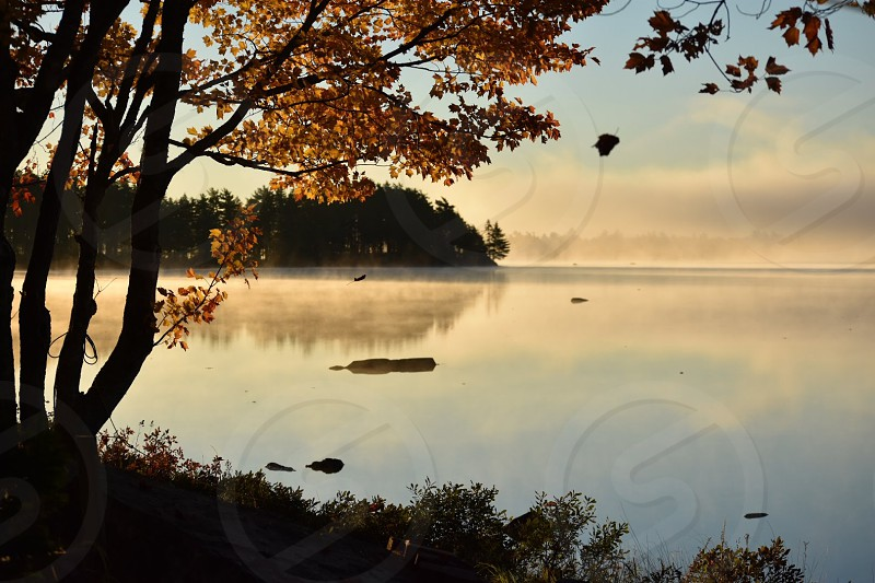 A fall morning mist as the sun rises over the mirrored lake at dawn photo