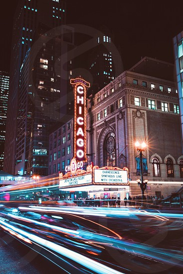 Chicago long exposure night photography city theater street lights  photo