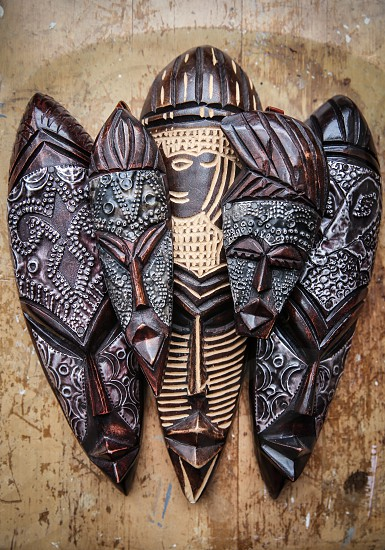 African Masks Souvenirs From Ghana Africa photo